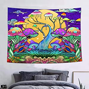 FEASRT Trippy Mushroom Tapestry Moon Hippie Art Colorful Abstract Tapestries Art Wall Hanging for Living Room Bedroom Home Dorm Decor 60×40 Inches GTZYAY330