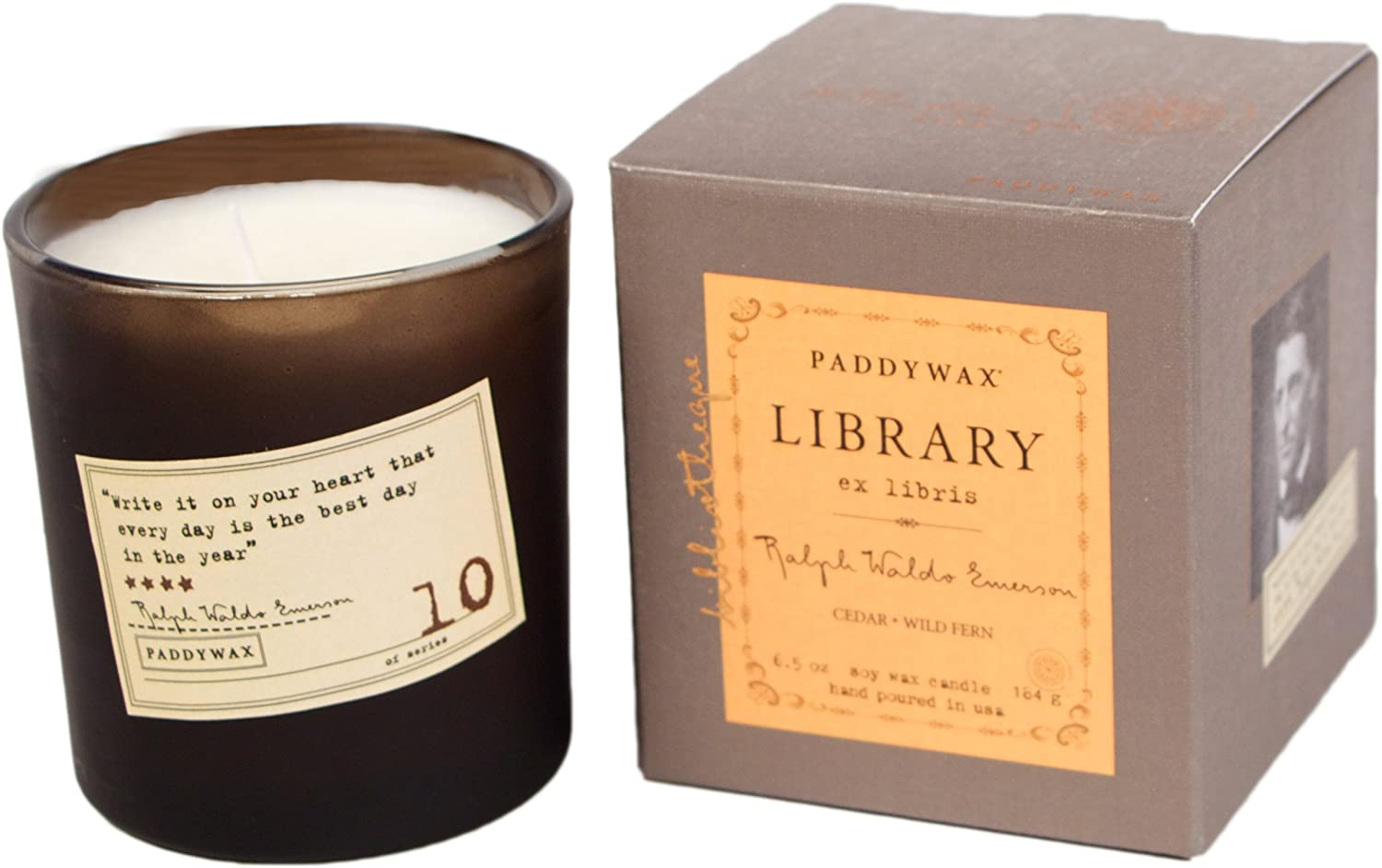 Paddywax Library Collection Ralph Waldo Emerson Scented Soy Wax Candle, 6.5-Ounce, Cedar & Wild Fern