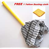 manan Cleaning Handle Duster, Reusable and Replaceable Cloth (Multicolour, Large) -2 Cloth