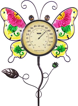 Metal Garden Ground Stake Decorative Stick Thermometer Ornament In-Outdoor New