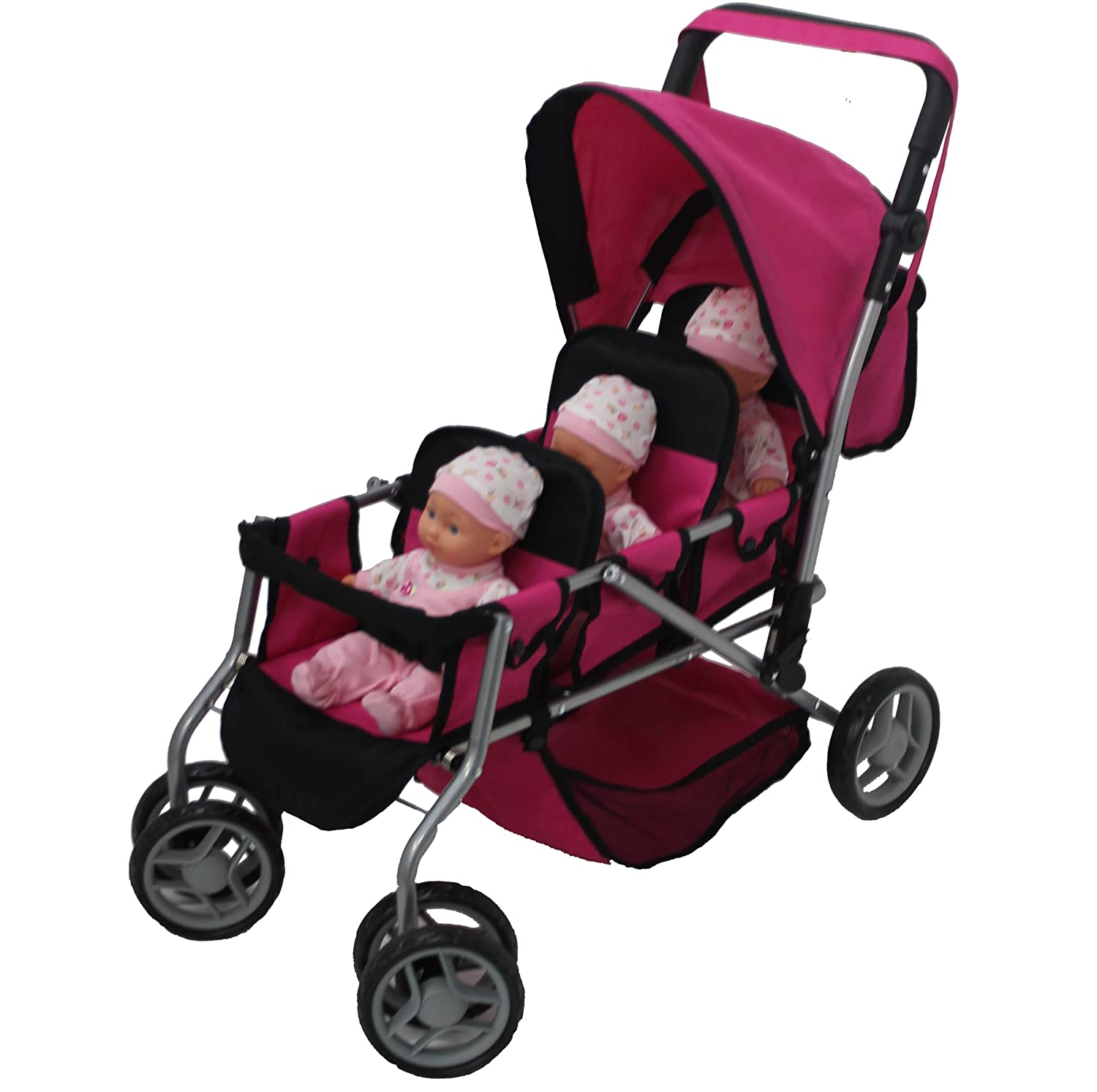 Amazon.com: Mommy & Me TRIPLET Doll Pram Back to Back with Swiveling ...