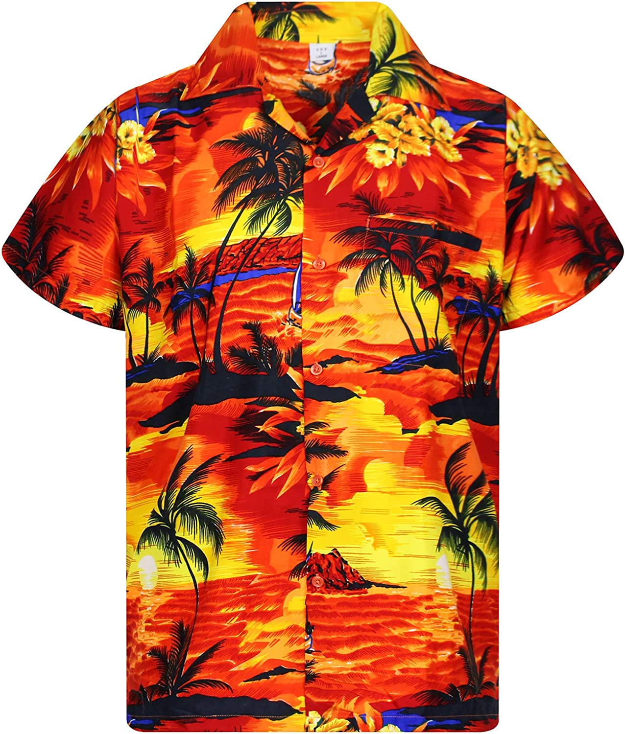 V.H.O. Funky Hawaiian Shirt Men Casual Front Pocket Button Down Very Loud Shortsleeve Unisex Surf