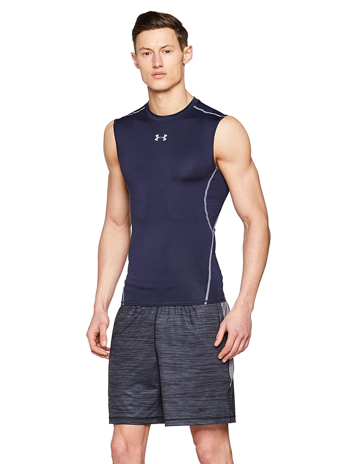 f107fc9ec Amazon.com: Under Armour Men's Heatgear Armour Sleeveless Compression  Shirt, Midnight Navy /Steel, XXXX-Large: Sports & Outdoors