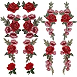 OPount 12 Pieces 6 Pairs Embroidered Patches Various DIY Cloth Art Embroidery Decoration