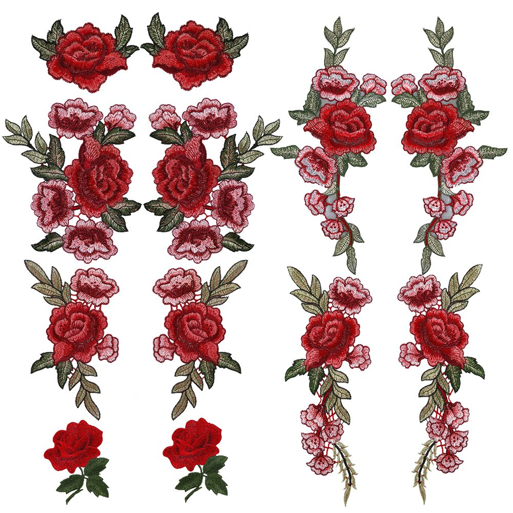 OPount 12 Pieces 6 Pairs Embroidered Patches Various DIY Cloth Art Embroidery Decoration PP OPOUNT 4337017965