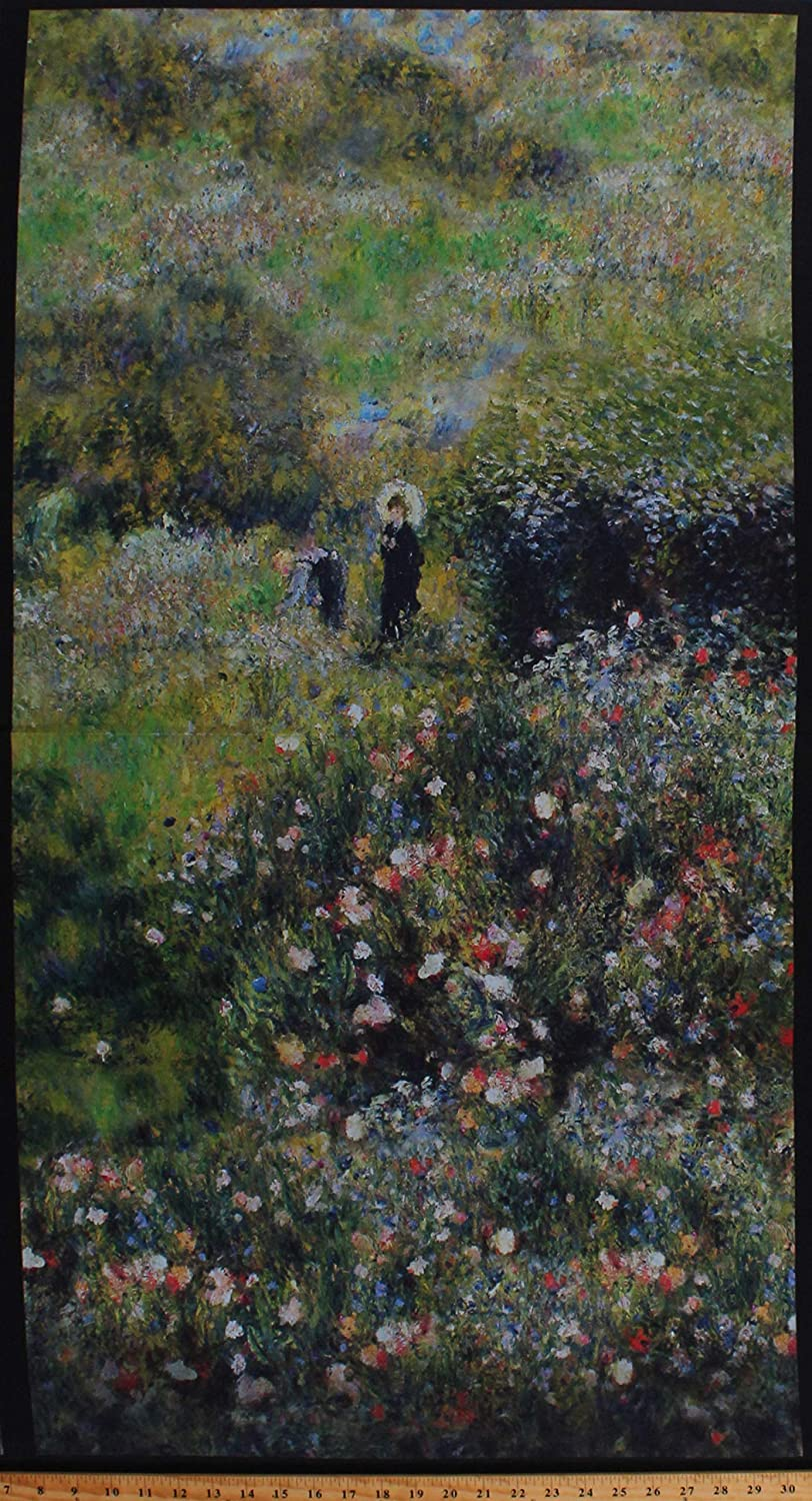 "23.75"" X 44"" Panel Renoir Paintings Landscape Scenery Woman with a Parasol in The Garden Flowers Floral Cotton Fabric Panel (D772.50)"