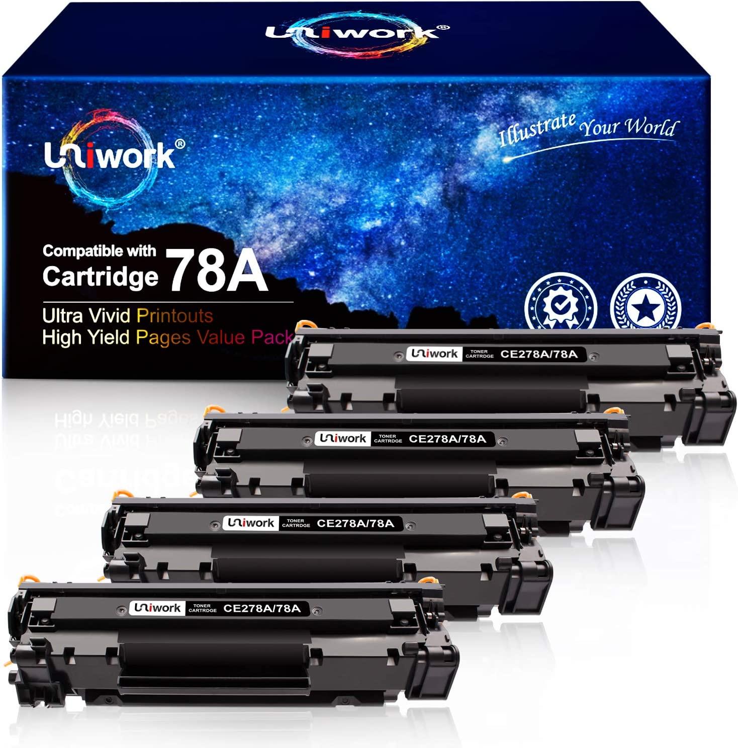 Uniwork Compatible Toner Cartridge Replacement for HP 78A CE278A use for Laserjet Pro P1606dn, M1536dnf, P1566, P1560, P1606, M1536 Printer (4 Black)