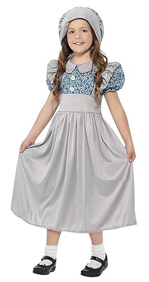 SmiffyS 27532S Disfraz De Colegiala Victoriana Con Vestido Y Sombrero, Gris, S - Edad