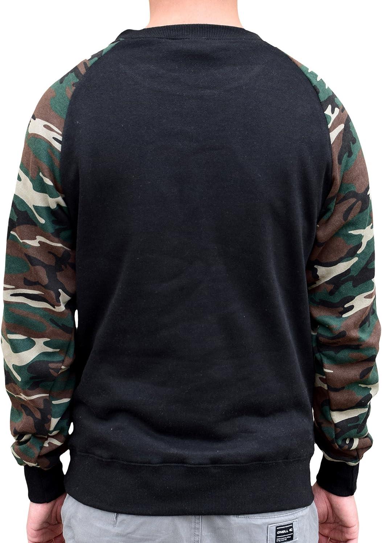 Mens Mexican Seal Flag Black//Camo Raglan Baseball Sweatshirt Black