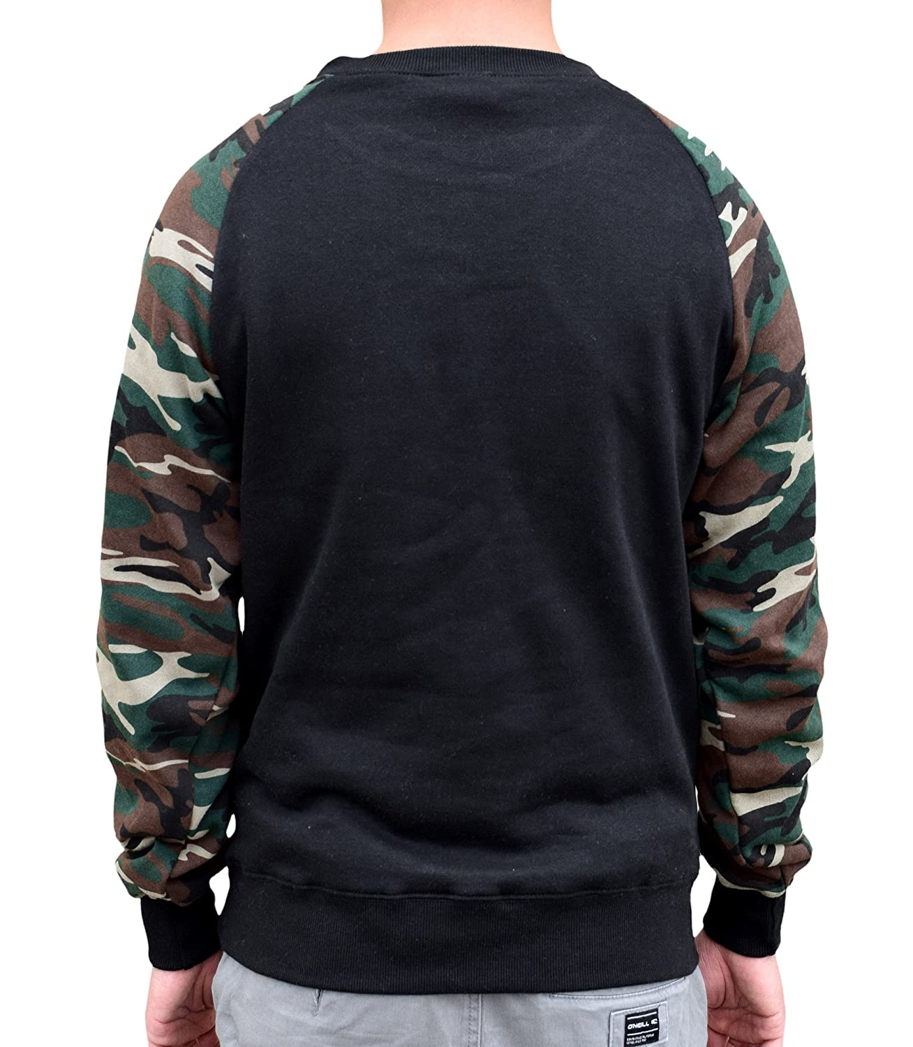Interstate Apparel Mens Basset Luv Black//Camo Raglan Baseball Sweatshirt Black