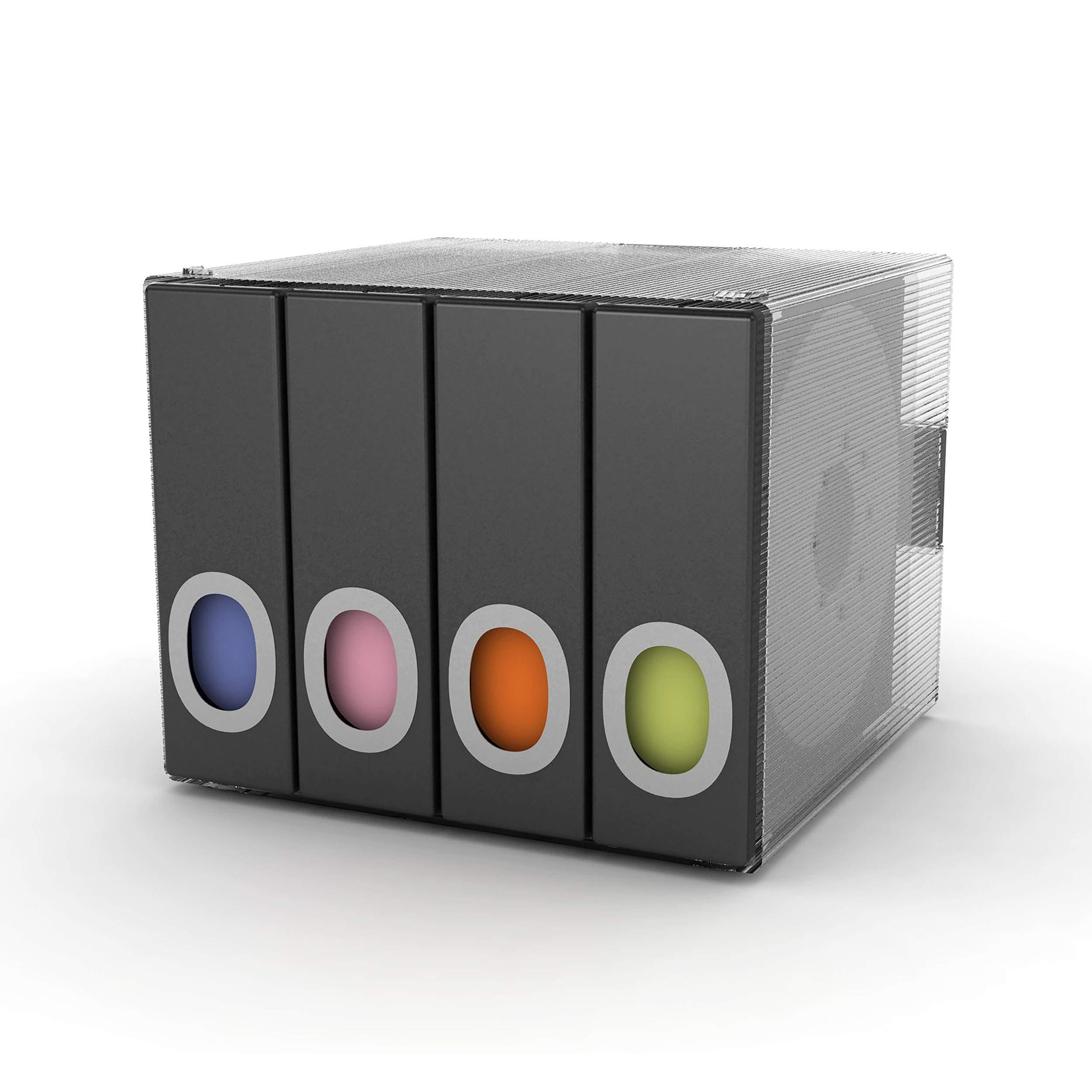 Atlantic Polypropylene Sleeve Disc Organizer - Stack & Lock, Categorize Cds In 4 Color-Coded Binders for 96 Discs Total In Black, PN96635496