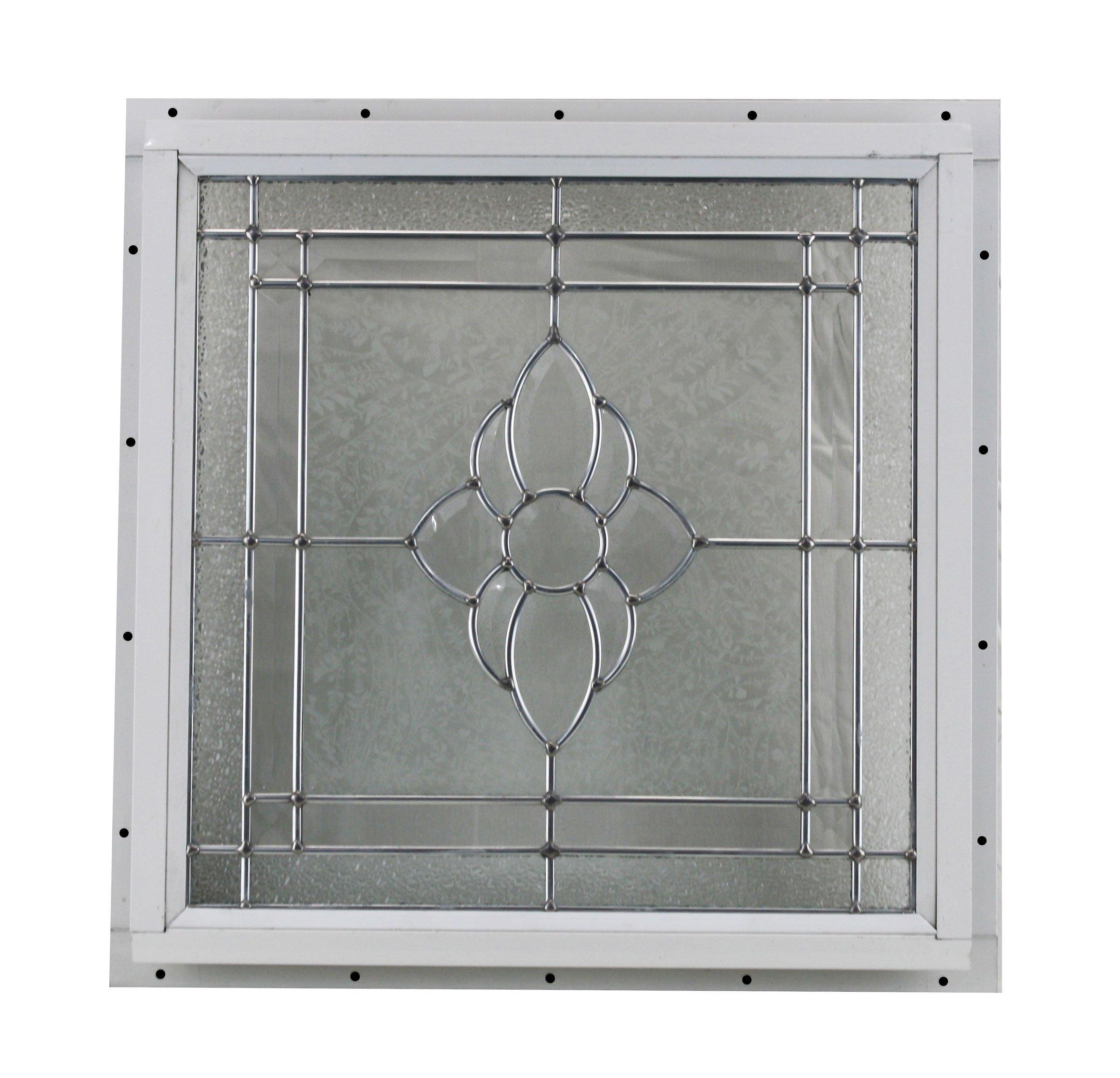16'' x 16'' Decorative Cut Glass J-Channel Mount Shed Window
