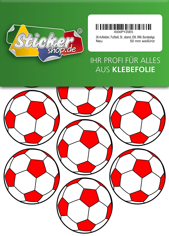 28, Fútbol, pegatinas, 50 mm, color blanco/rojo, de PVC, pantalla ...