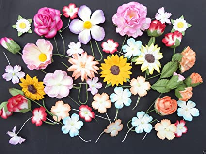 40 Handmade Mulberry Paper Flowers Card Making Craft