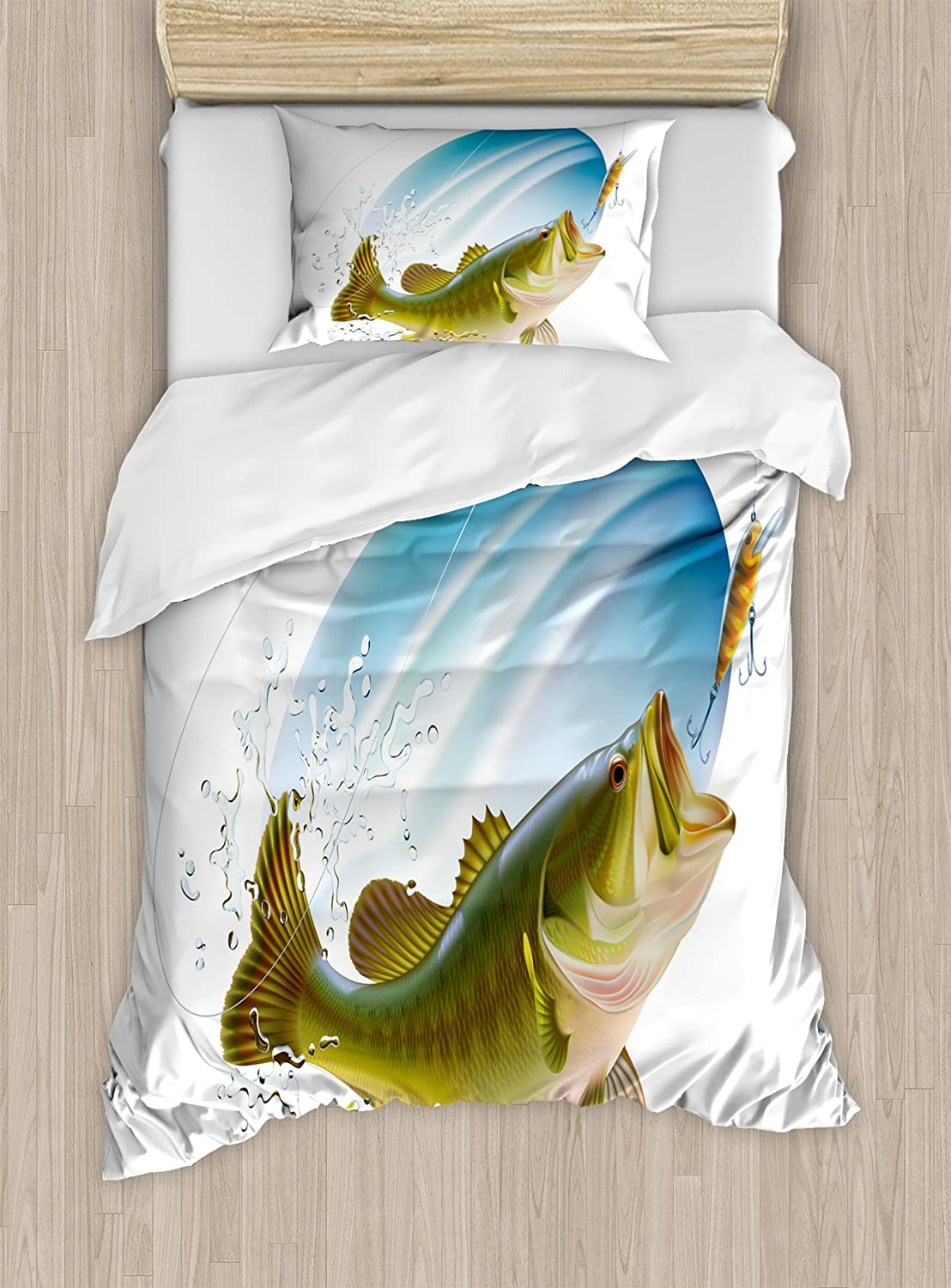 Ambesonne Fishing Duvet Cover Set, Largemouth Sea Bass Catching a Bite in Water Spray Motion Splashing Wild Image, Decorative 2 Piece Bedding Set with 1 Pillow Sham, Twin Size, Green Blue