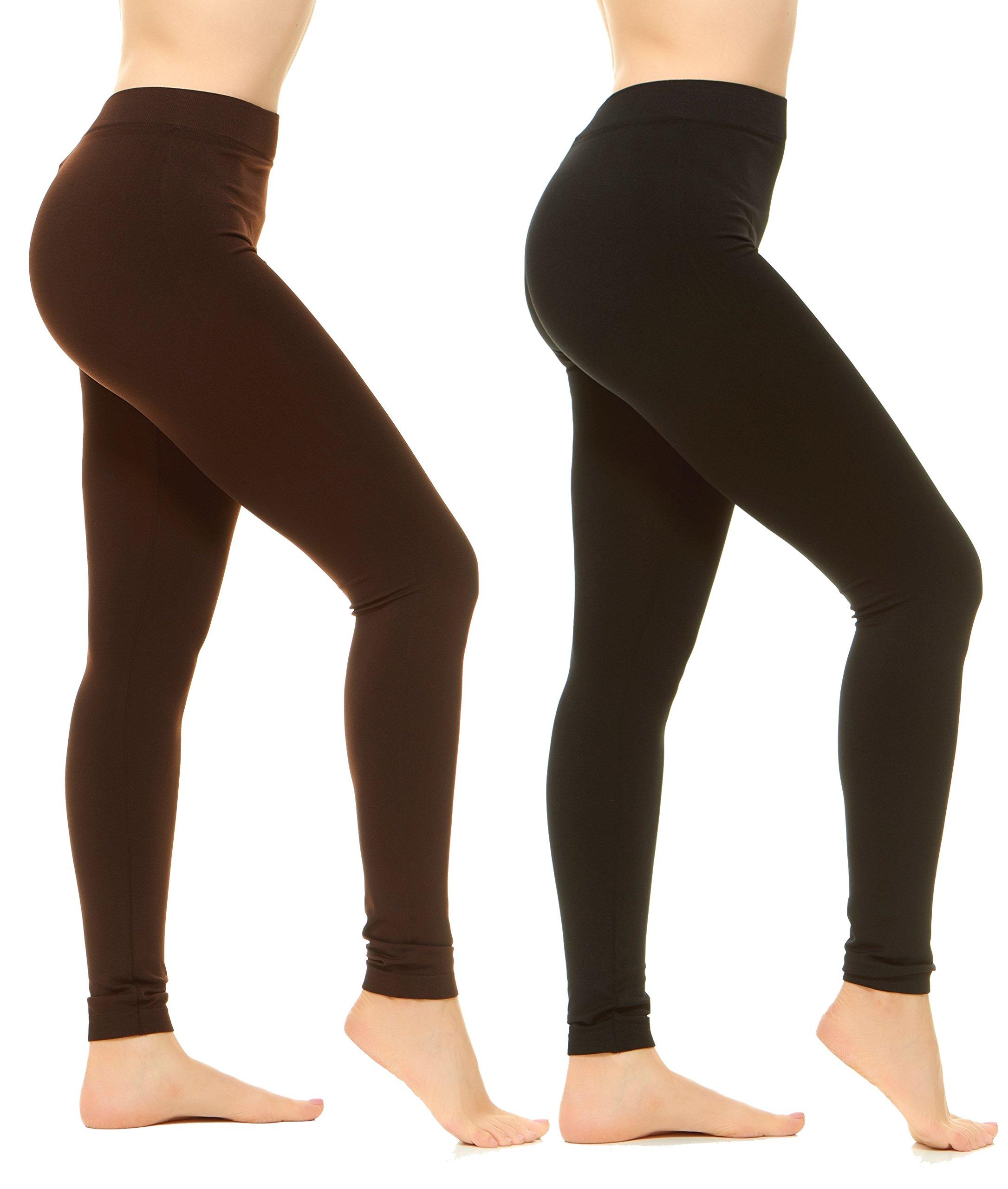 Unique Styles High Waist Leggings for Women Soft Yoga Pants Ribbed Waistband (Plus Size, 2-PK: Black, Brown)