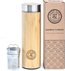 LeafLife Original Bamboo Tumbler with Tea Infuser & Strainer Tea Bottle Vacuum Insulated Travel Tea Mug Comes with Tea Diffuser For Loose Tea 17 ounces Bamboo