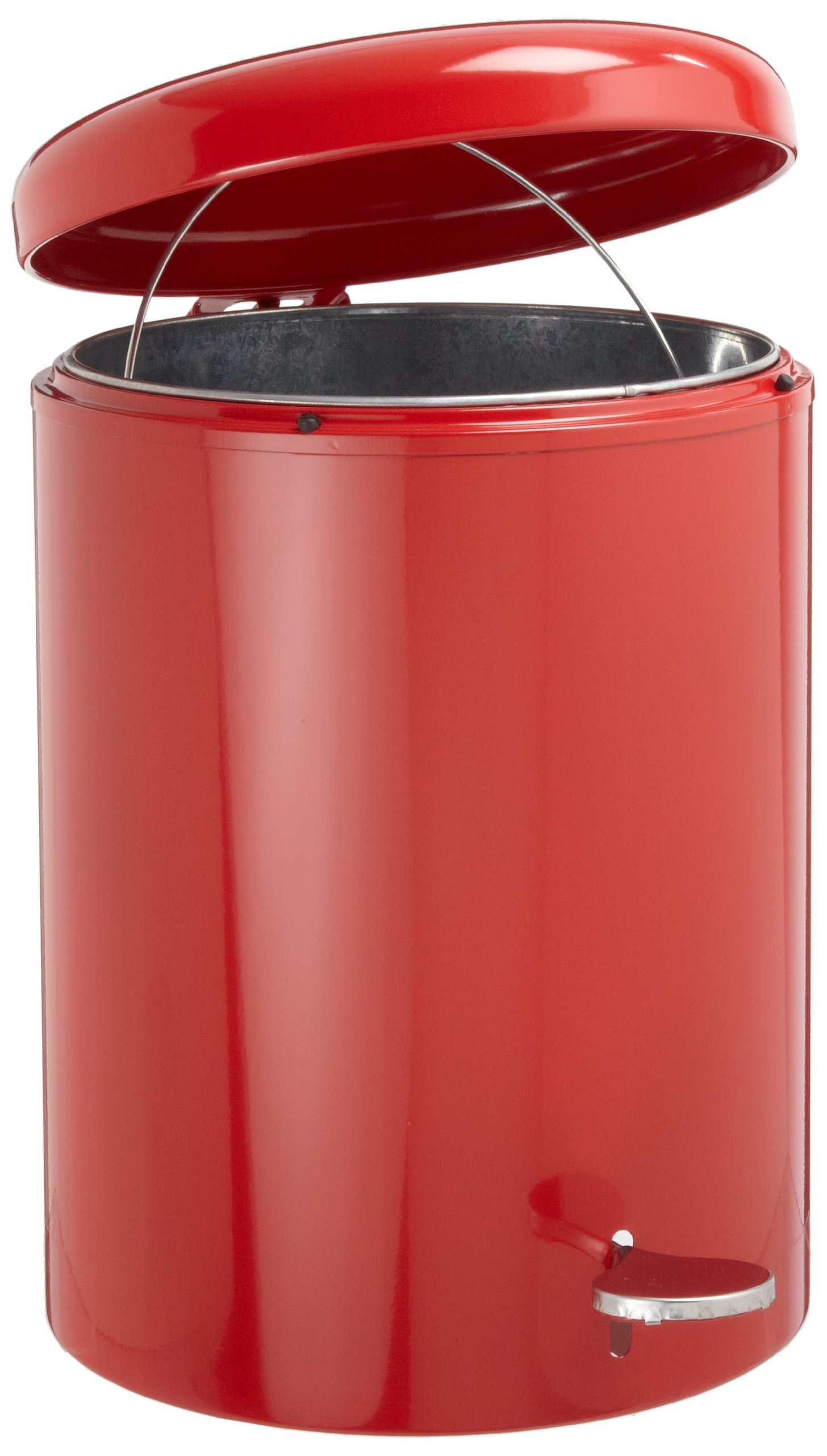 Witt 2240RD Step On Metal Biohazard Waste Container, 4gal Capacity, 11-1/2'' Diameter x 16'' Height, Red by Witt Industries