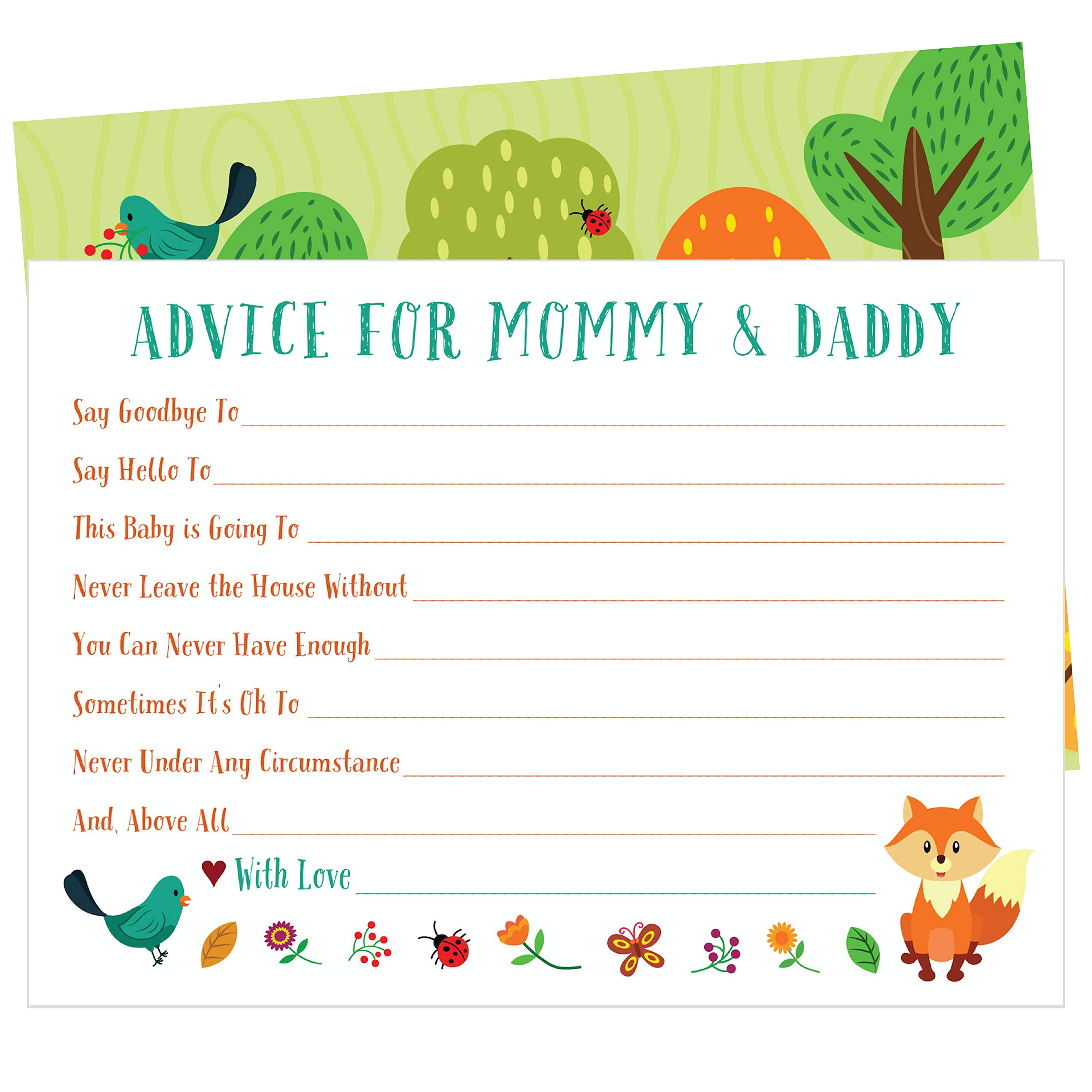 50 Woodland Animal Advice and Prediction Cards for Baby Shower Games (5x7 Inch)