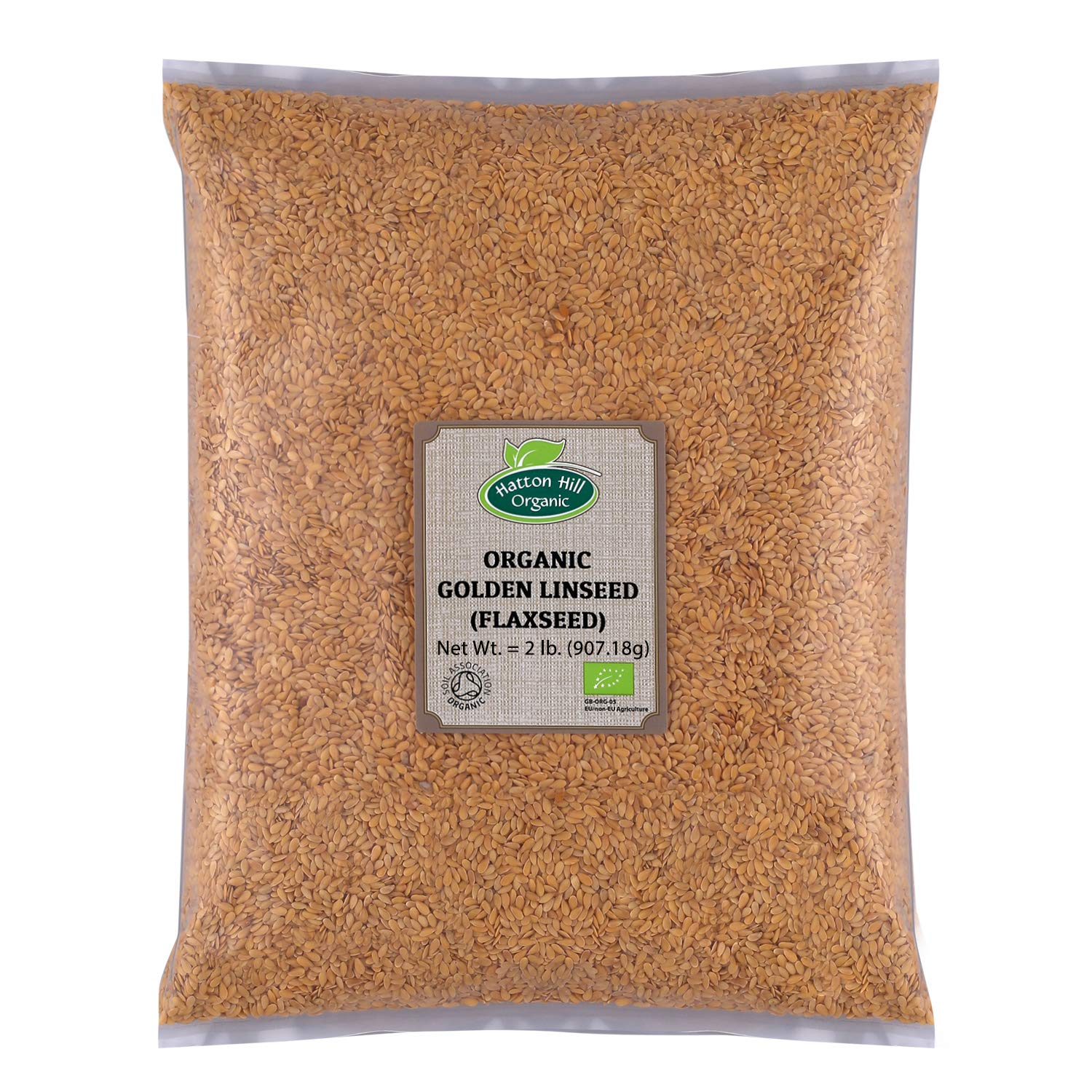 Organic Golden Flax Seeds (Linseed) 2lb by Hatton Hill Organic