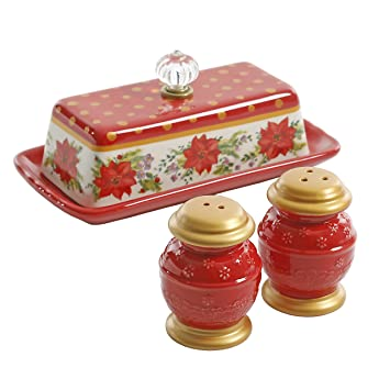 the pioneer woman christmas holiday red salt pepper butter dish
