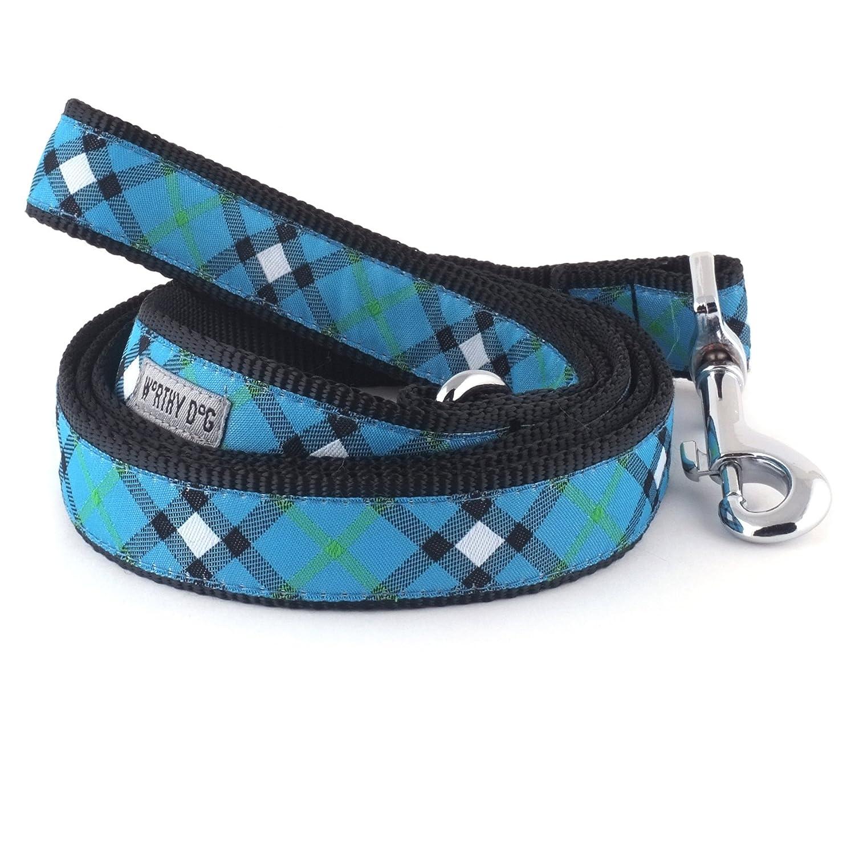 bluee 1  x 5' LeadThe Worthy Dog 218584002XL Bias Buffalo Plaid Adjustable Designer Pet Dog Collar, Red Black, XLarge