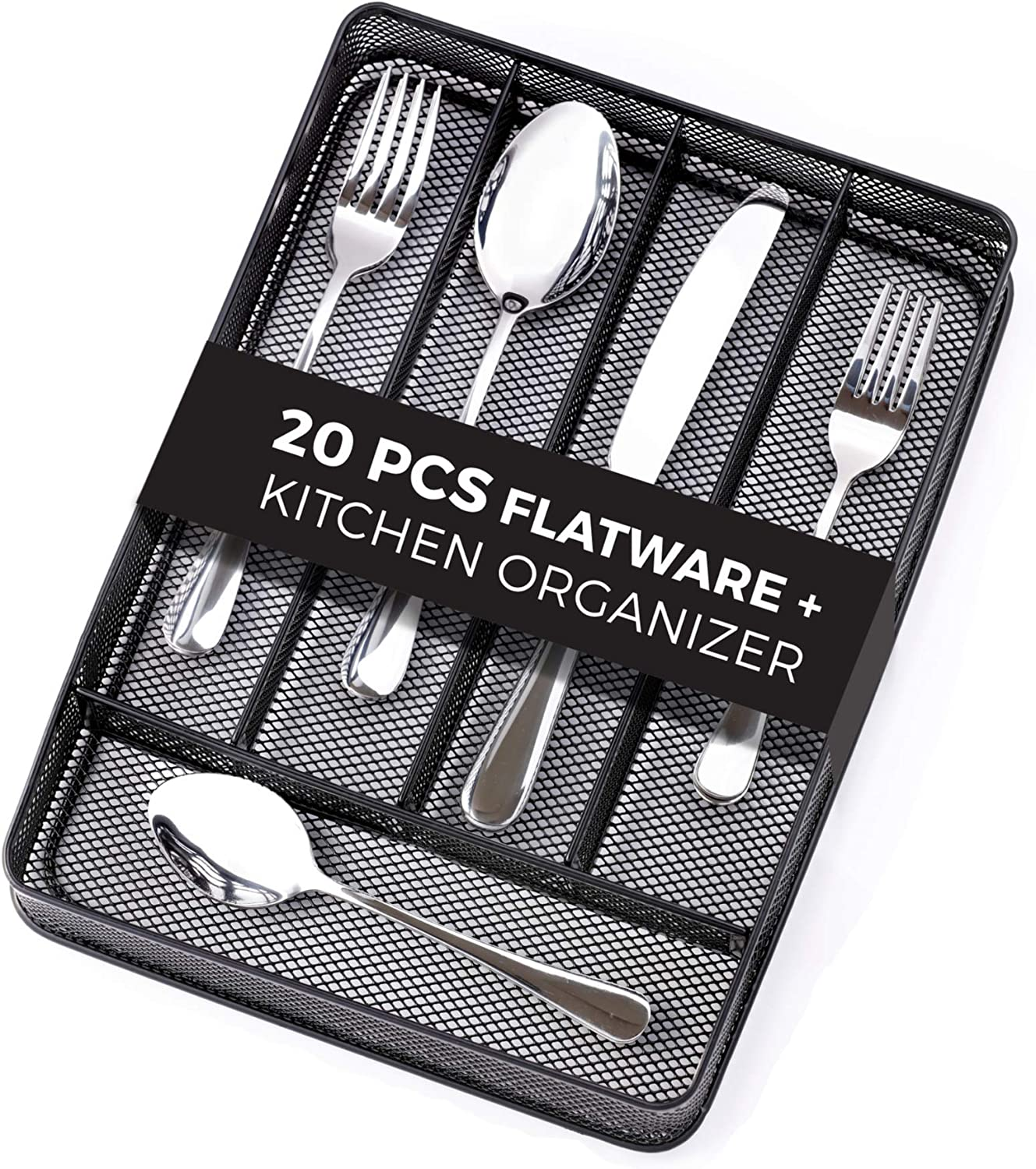 Tenmor 20 Piece Silverware Set, Stainless Steel Flatware Set Mirror Polished, Dishwasher Safe, Utensils Service for 4, Include Knife/Fork/Spoon and Mesh Cutlery Holder/Kitchen Drawer Organizer Trays