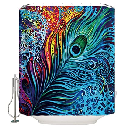 Art Peacock Feather Shower Curtain Mildew Resistant Waterproof Bathroom  Fabric Shower Curtains, Bath Decorations Bathroom