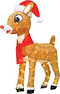 "ProductWorks Inch 32"" Pre-Lit 3D Rudolph with Santa Hat and Scarf Christmas Holiday Yard Art Decoration, 120 Lights"
