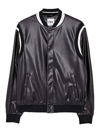 4e529cbb Zara Men Faux Leather Bomber Jacket 8281/457 at Amazon Men's ...