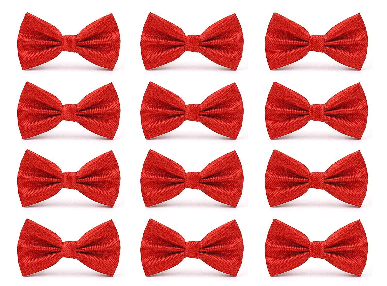 AVANTMEN Men's Bowties Formal Satin Solid - 12 Pack Bow Ties Pre-tied Adjustable Ties for Men Many Colors Option (Red) by AVANTMEN