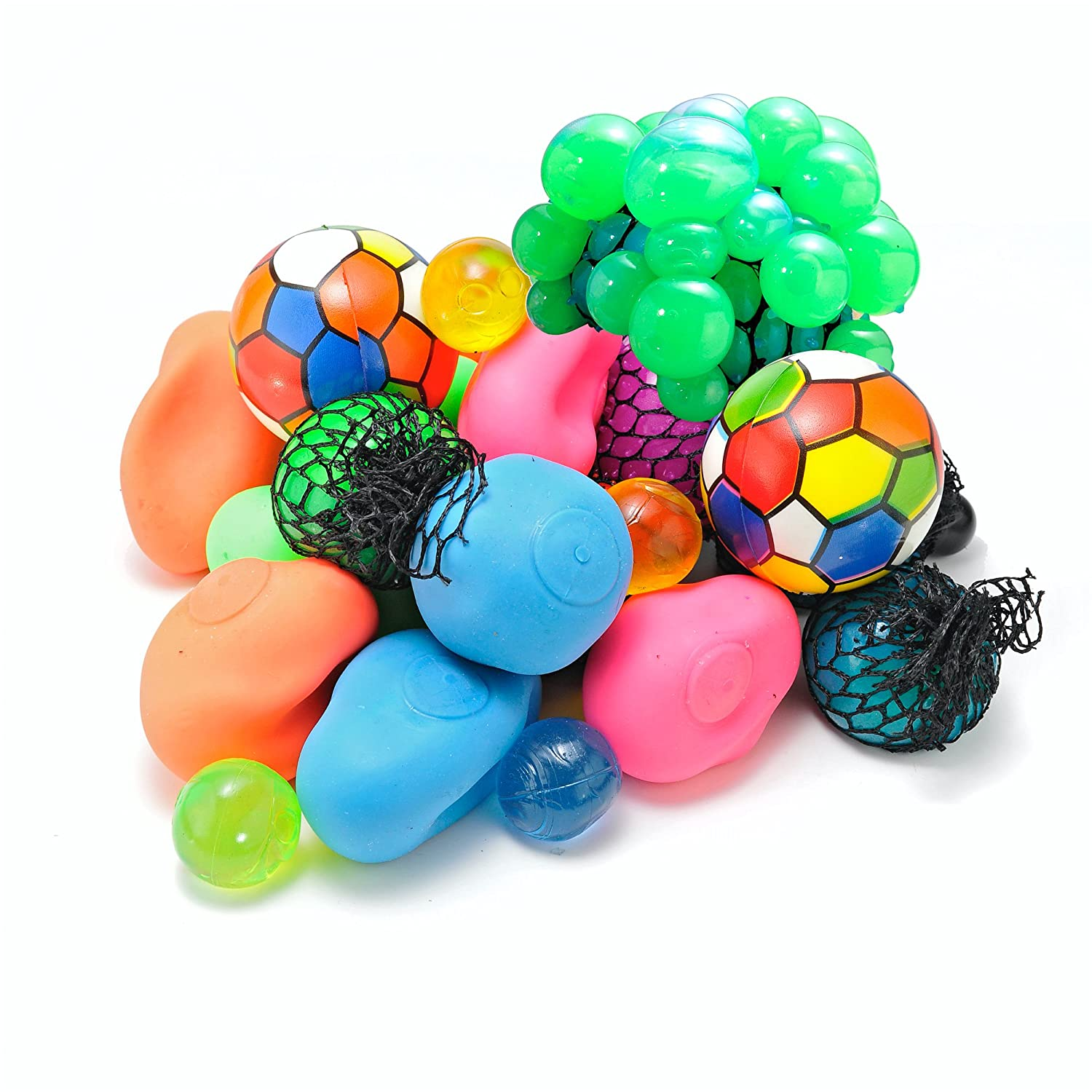 "12 Pack + Free Bonus! Assorted Squishy Toy Balls (Squeeze  Stretch  Bounce  Grape  Jelly) for Stress and Anxiety Relief - Includes Free 3"" Neon Squeeze Ball from Bottles N Bags"