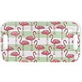 Flamingo Stripe 15 x 8 Inch Melamine Serving Tray