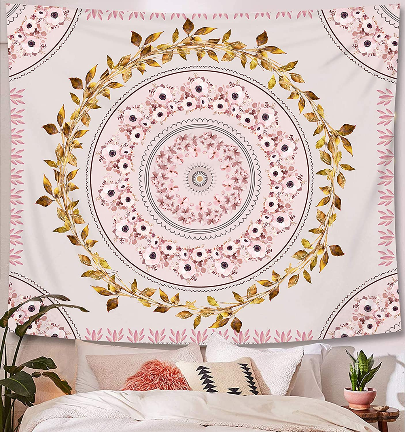 Pink Tapestry Wall Hanging Bohemian, Zodight Mandala Floral Medallion Hippie Tapestry with Gold Leaf Pink Flower Aesthetic Wreath Design, Wall Decor Blanket for Bedroom Home Dorm