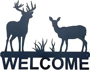 "Eagle Eye Products LLC Deer Welcome Sign | Deer Welcome | Whitetail | Wall Art | Metal Welcome Sign | Decorative Indoor Outdoor Sign | Black Finish 15""X12"""