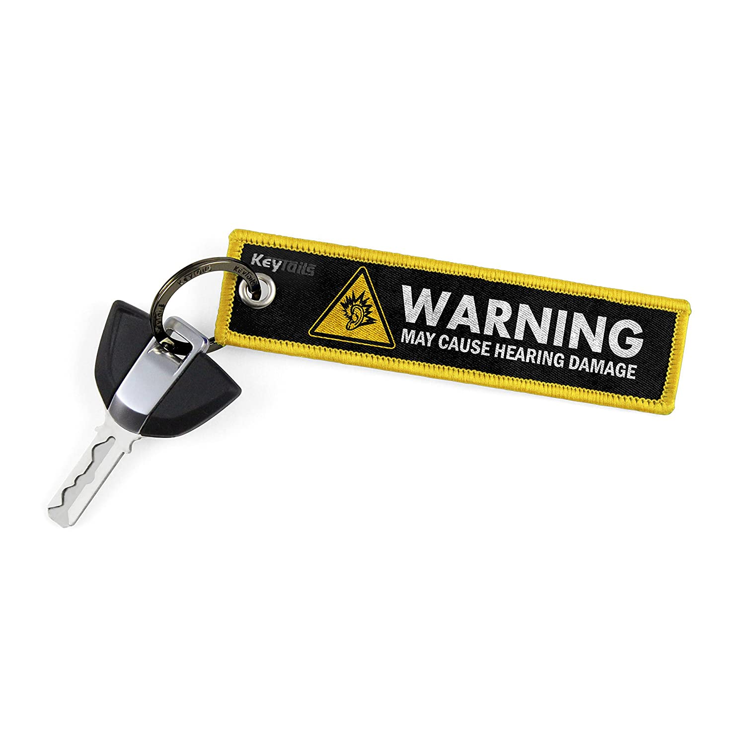 KEYTAILS Keychains, Premium Quality Key Tag Motorcycle, Car, Scooter, ATV, UTV [Warning May Cause Hearing Damage - Yellow] Key Tails