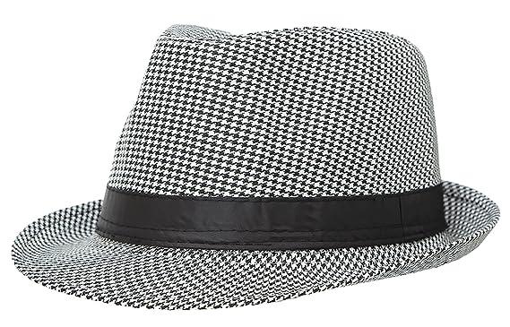 La Vogue Houndstooth Fedora Trilby Hat Sun Jazz Cap Black  Amazon.co ... 220b71e25ca9