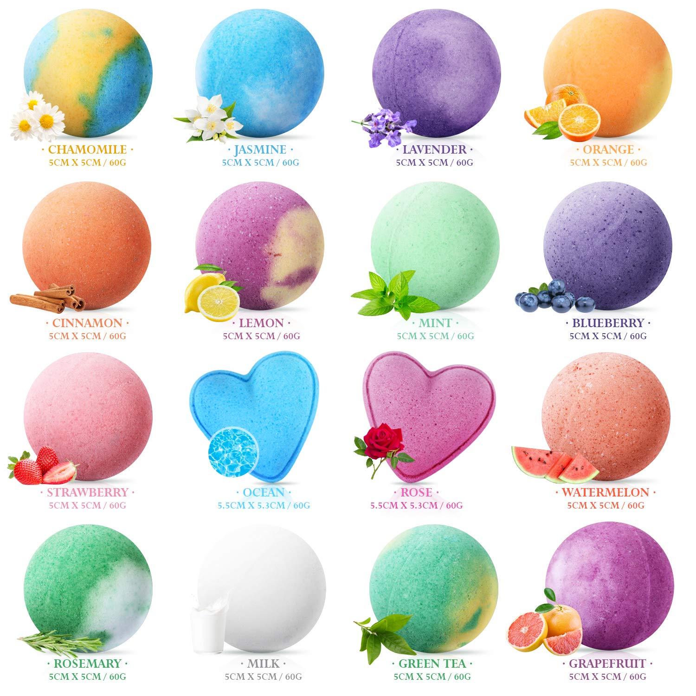 Peradix Boules de Bain Effervescentes 16 PCS - Kit de Boule pour Le Bain, Multicolores Bio pour Homme Femme Enfant,Spa Luxueux,Bain Moussant Senteur Relaxante,Coffret Bombes de Bain de Saint-Valentin