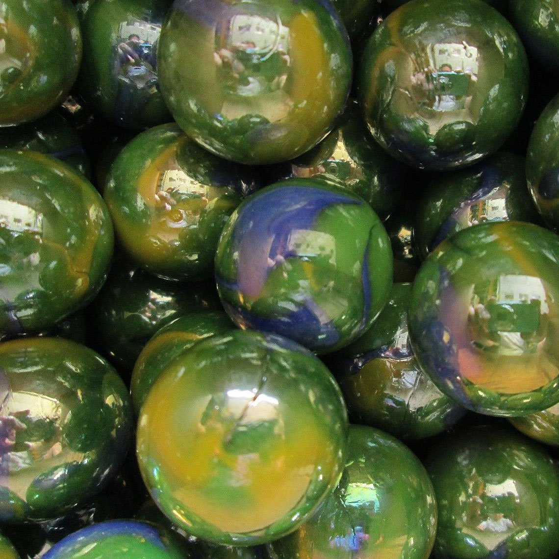 """Unique & Custom {1'' Inch} Approx 2 Pound Set of Big """"Round"""" Opaque Marbles Made of Glass for Filling Vases, Games & Decor w/ Shiny Planet Earth Tone Smooth Swirl Design [Green, Blue & Yellow Colors]"""