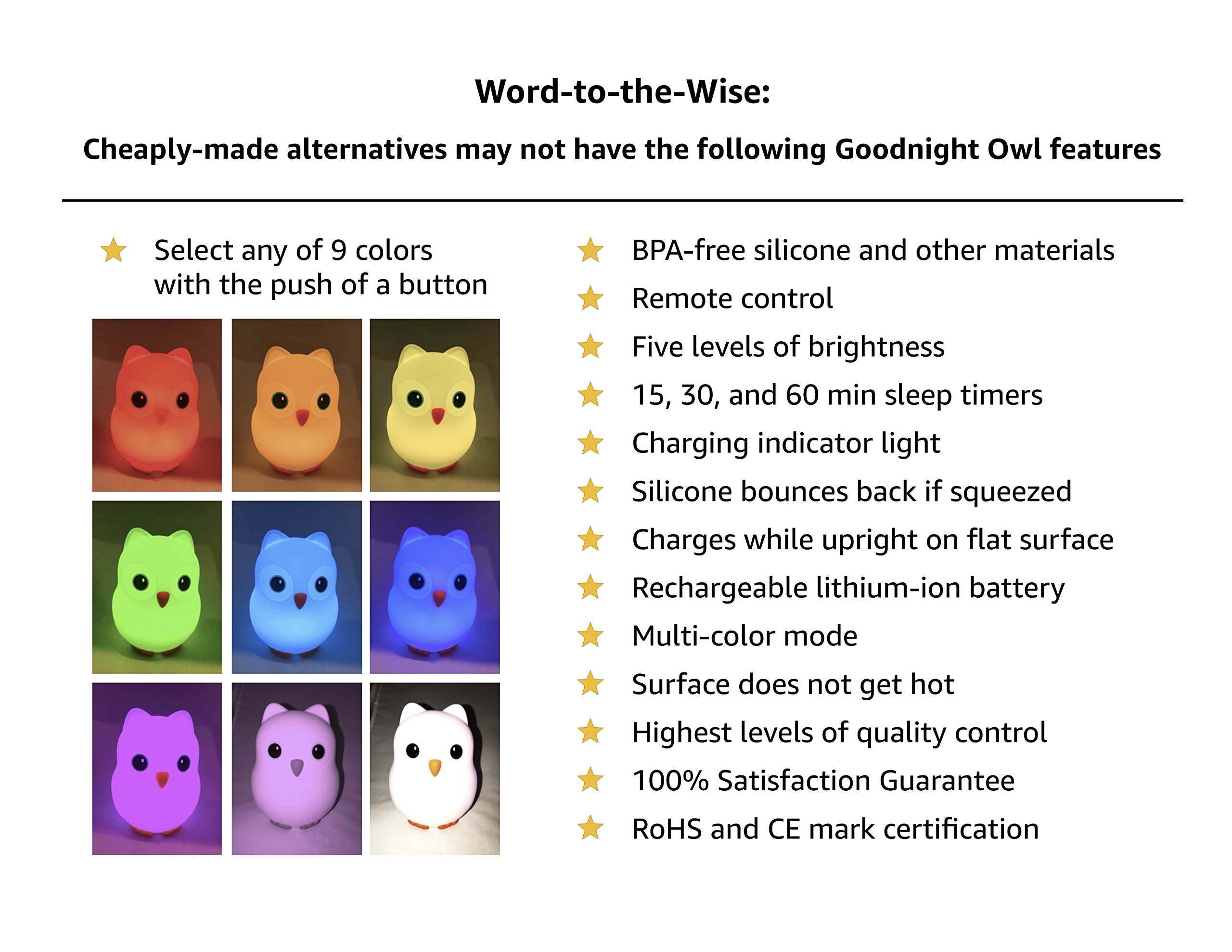 Goodnight Owl Jr. Night Light Kids & Toddlers - Multi-Color LEDs (9 Colors!), BPA-Free Silicone, Rechargeable Battery, 5 Levels Brightness, auto-Off Timer + Remote Control. Super Cute Fun!