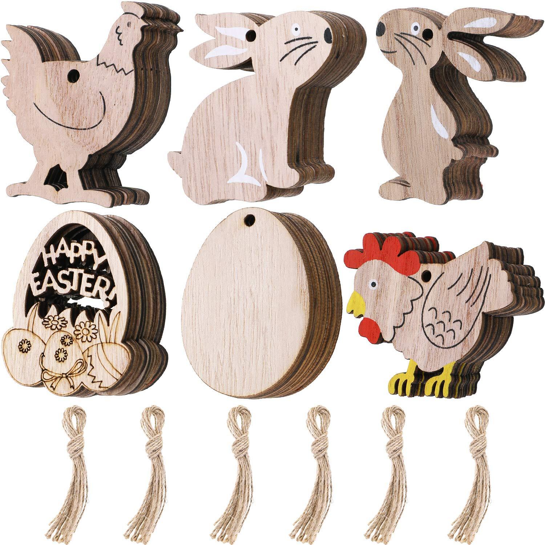Chuangdi 60 piezas de adornos de madera de Pascua en forma de huevo y conejo para colgar adornos con cordel para decoraci/ón de fiesta de Pascua