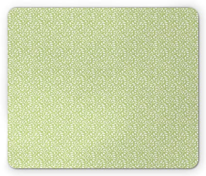 Green And White Mouse Pad Monochrome Leaf Silhouette On A Pastel Background Spring Season