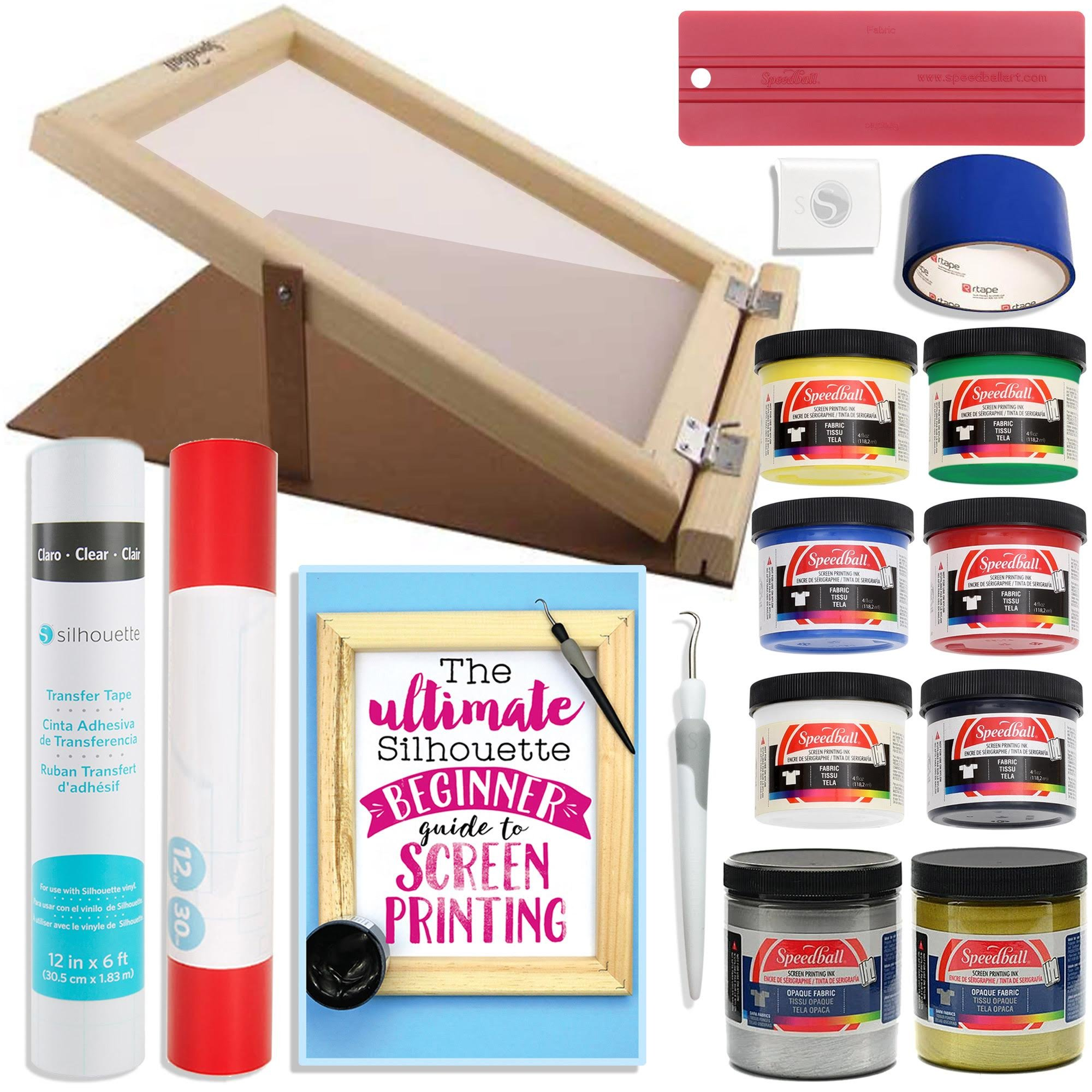 Silhouette Cameo Screen Printing Bundle with Extra Paints and 10 Inch x 14 Inch Screen with Base by Silhouette America