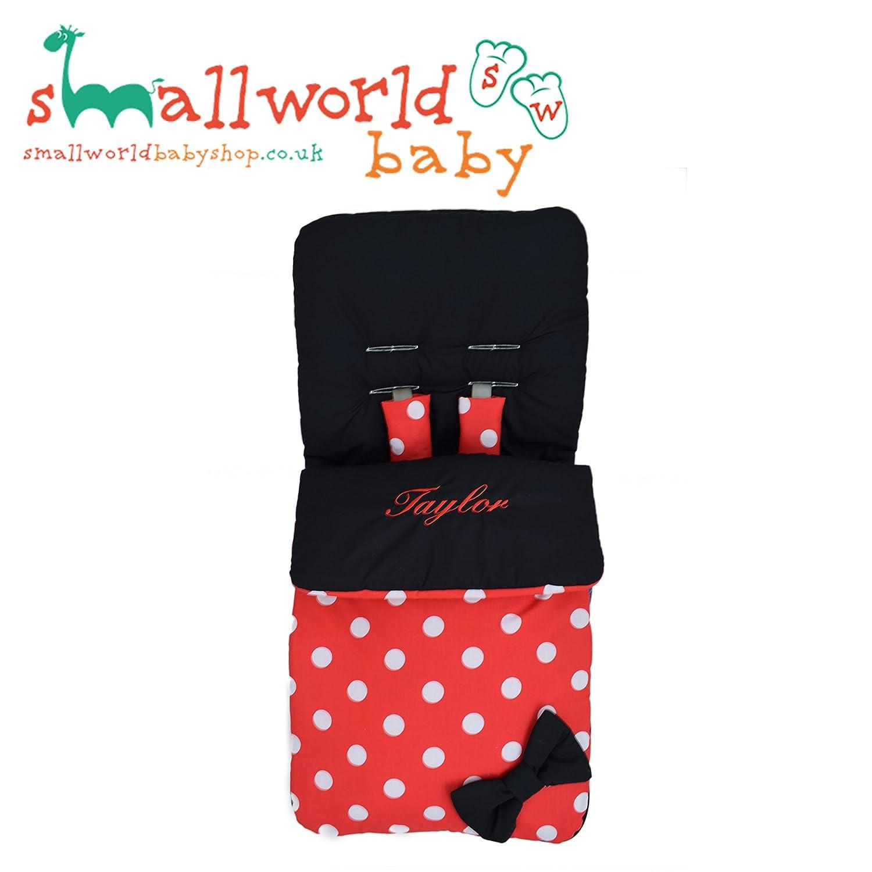 Saco de dormir personalizable, diseño de lunares, color negro y rojo Small World Baby Shop
