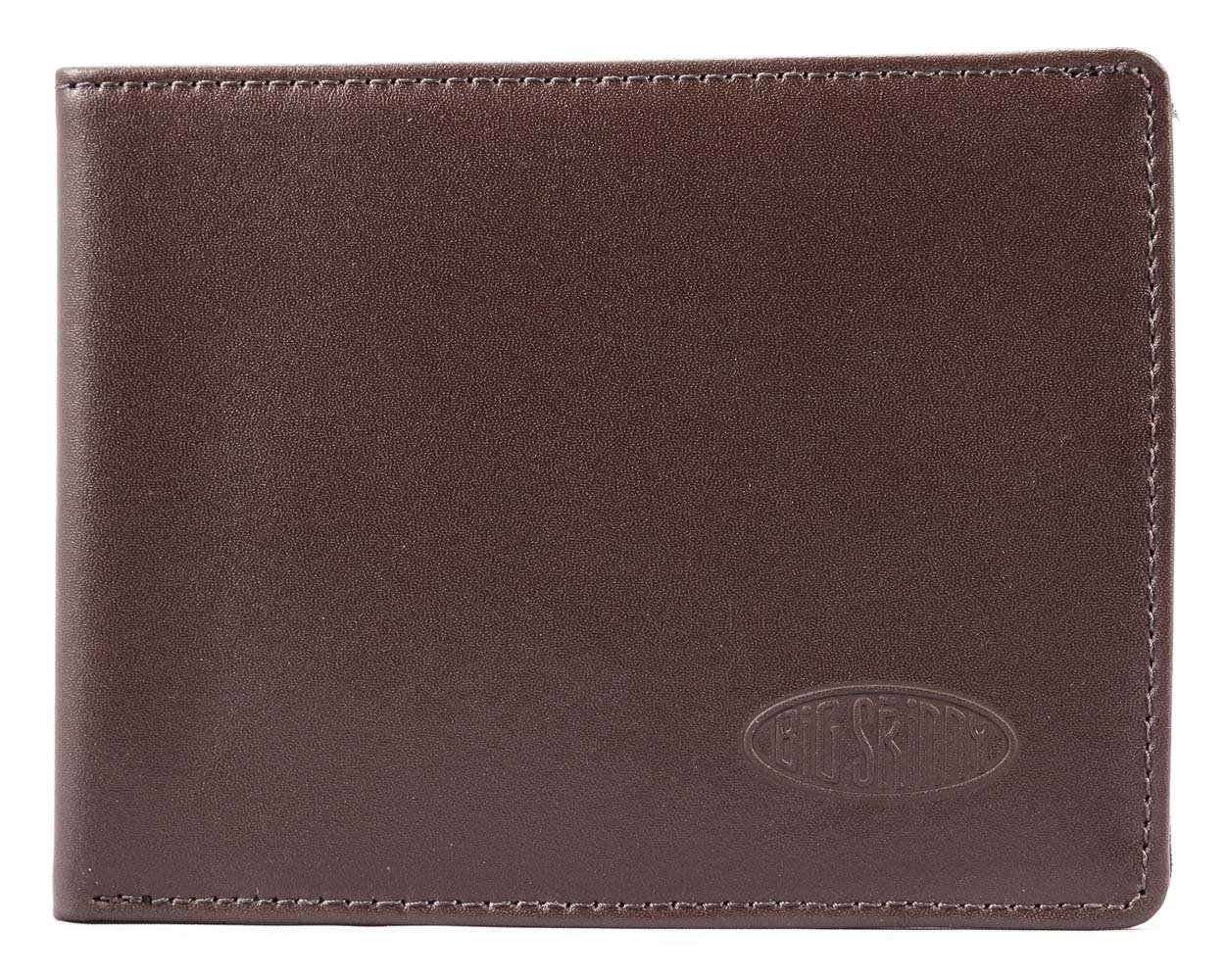 Big Skinny Men's Super Skinny Leather Bi-Fold Slim Wallet, Holds Up to 30 Cards, Brown