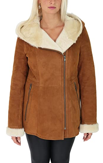 Ladies Sheepskin Coat Hooded Hip Length Shearling Zip Jacket Ellen Tan (X-Small)