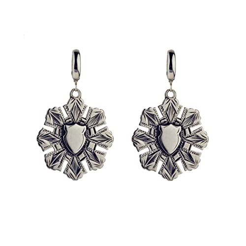 Vintage Engraved Sterling Silver Drop Earrings