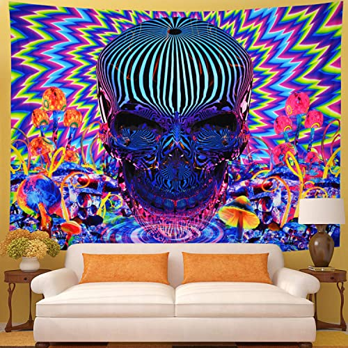 Galoker Psychedelic Tapestry Skull Tapestry Trippy Mushrooms Tapestry Colorful Abstract Tapestry Bohemian Hippie Tapestry Wall Hanging for Home Decor H70.8 W92.5 inches
