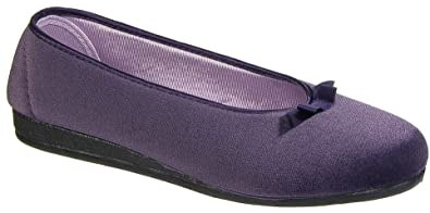 Womens Ladies Slip On Slippers / Purple Bow Ballerina Rubber Soled Sleepers