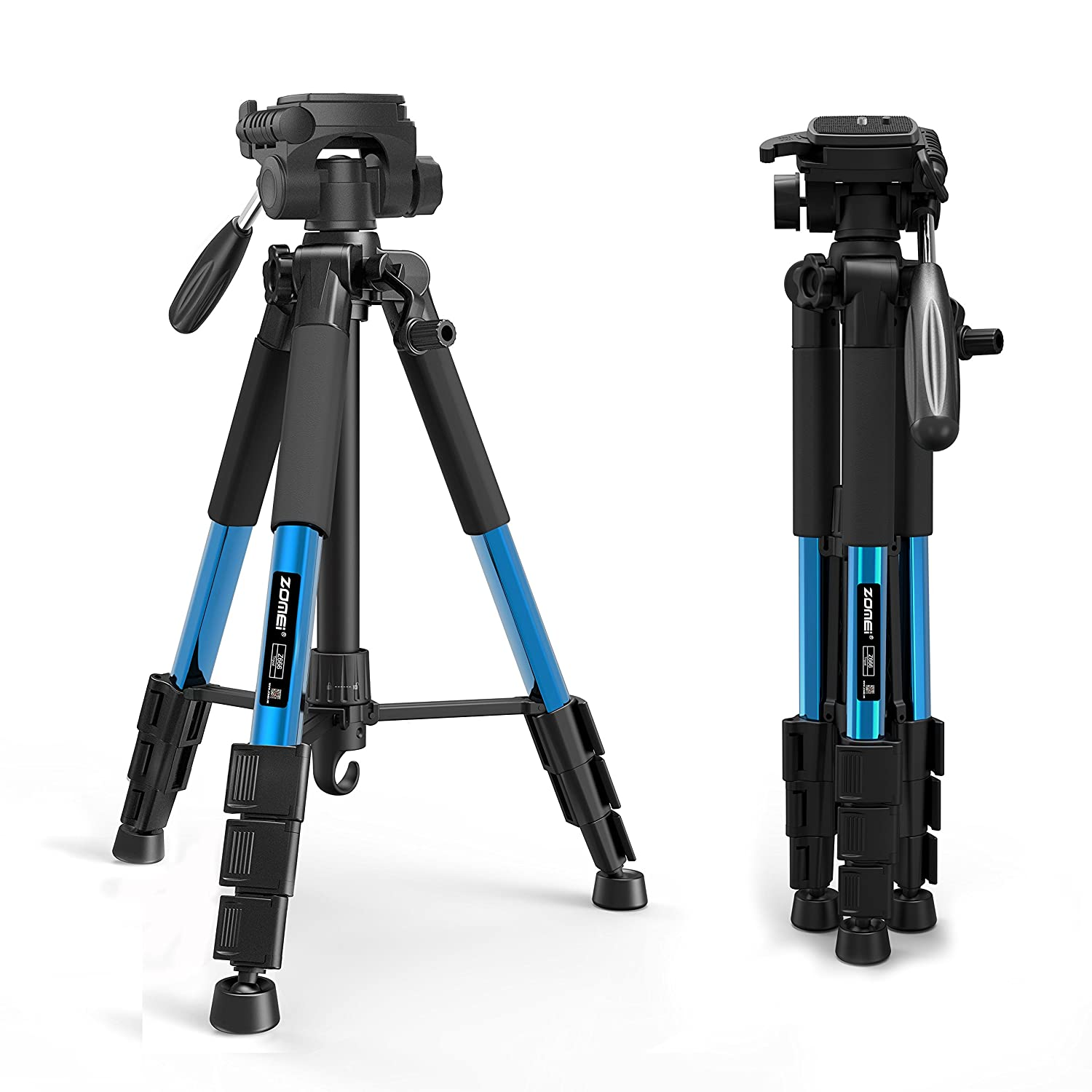 ZoMei 56' Light Weight Aluminum Tripod Flexible Camera Tripod Stand with 1/4' Standard Mount 3-Way Pan Head for DSLR EOS Canon Nikon Sony Samsung with Carry Case